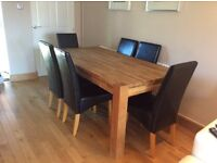 6 Seater solid oak dining table & chairs