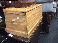 Victorian pine trunk chest