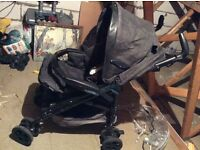 Mamas and papas convertible pushchair/pram - with waterproof cover, baby seat and ISO fix base