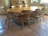 8 seater kitchen table with 6 chairs 2 carver chairs