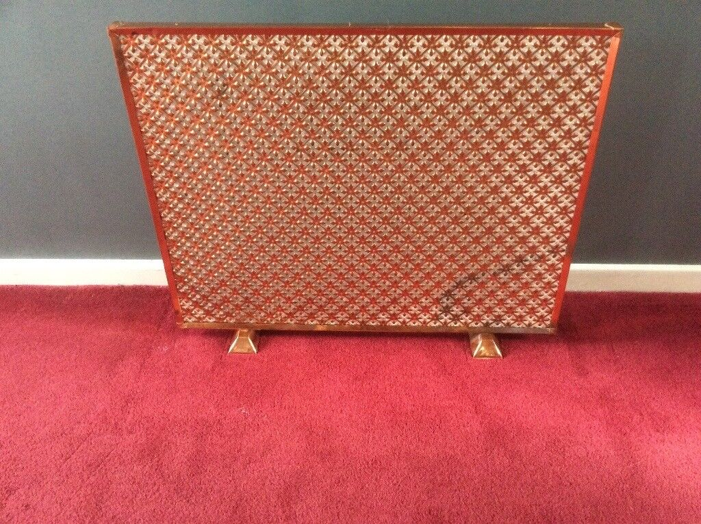 Large Antique Vintage punched copper Fire Screen by Heals