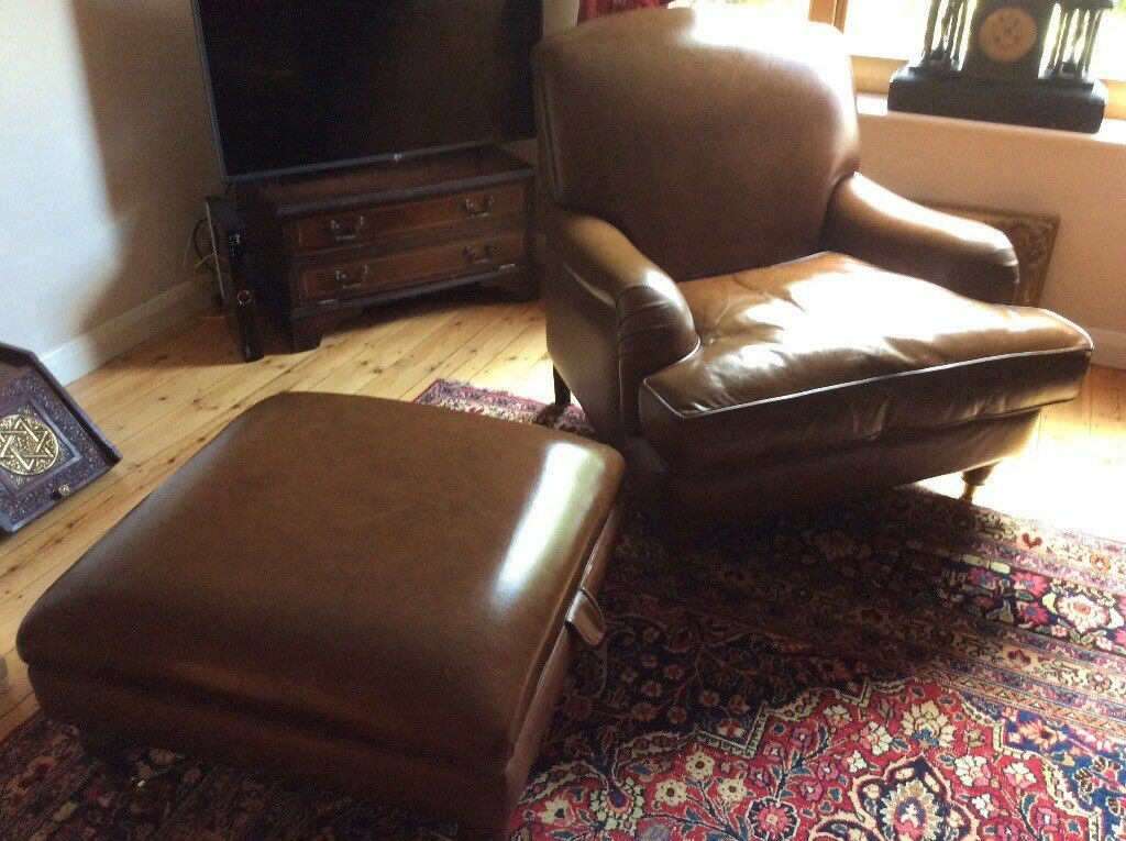 Beautiful Laura Ashley Lynden leather seat plus large footstool with storage
