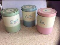 Tea, coffee, sugar caddy set. Retro vintage, clean.