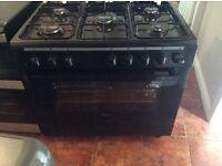 Swan black range gas cooker 90 cm wide brand new 5 burner dual fuel