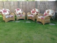 Conservatory furniture. 4 matching wicker conservatory chairs.