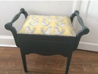 Wooden upholstered piano stool