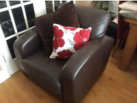 Leather 2 Seater sofa and matching chair in dark brown