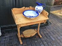 ANTIQUE PINE WASHSTAND BOWL AND JUG.