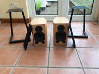 Wharfedale Diamond 9.1 speakers with stands and cables