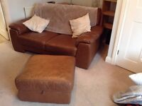 2 Seater Leather Sofa with Footstool (Tan)