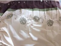 Cream, Green and Brown Eyelet Curtains x 2 Pairs