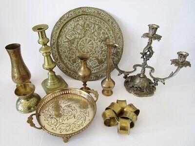 Bulk Lot Of 8 Vintage Brass Items vases, napkin rings, candle holder, plate
