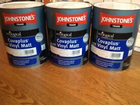 Unopened matched (by Johnstone's) Farrow & Ball paint. 2 tins 'Stiffkey Blue'. 1 tin 'India Yellow'.