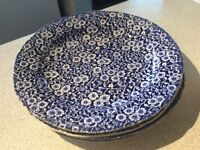 4 Blue Calico 10 inch dinner plates