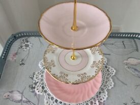 Pink Mismatch Bone China Small 3 Tier Cake/Biscuit/Trinket Stand.