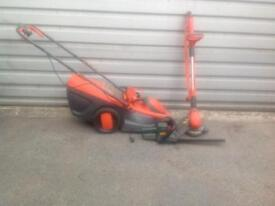 Flymo strimmer, lawnmower & black and decker hedge trimmer