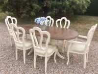 Shabby Chic Solid Pine Double Pedestal Dining Table & 6 Chairs