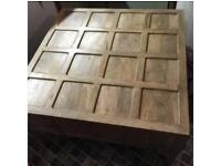 Large, beautifully finished, solid wood square coffee table