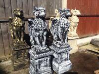 Pair Concrete Griffins on Pedestals