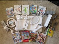 Wii console, wii fit, accessories and 9 games