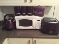 Purple 4 slice toaster kettle tea suga coffee canister biscuit tin also white daewood microwave