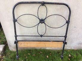 Antique cast iron metal single bed head board
