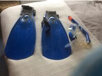 Snorkel, fins and mask