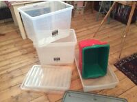 4large yrigid plastic storage boxes with lids, 1 flat box +lid 4 sundry boxes-lidless, g condition