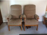Two high back chairs in excellent condition. Footstool also available.