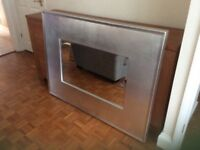 Large Mirror with modern silver frame