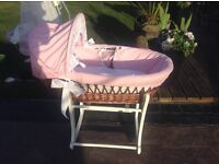 Baby girls wicker Moses basket