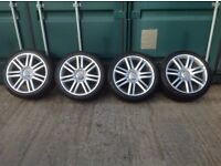 SET OF 4 X GENUINE AUDI S3 7 ARM TWIN SPOKE ALLOYS IN SILVER WITH TYRES