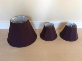Bespoke lampshades, 1 large and 2 small