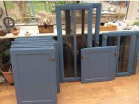Blue kitchen cupboard doors