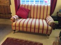 Two seater sofa and single armchair in regency stripe. Small and so will fir tiny sitting rooms.