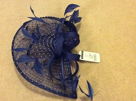 Royal blue, diamonte fascinator