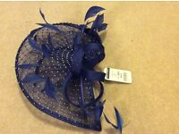 Royal blue, diamonte fascinator