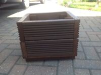 Handmade square brown garden planter for sale. Made from reclaimed decking. Pre treated
