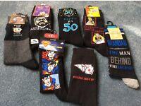 Seven pairs of men's assorted novelty socks