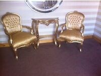 Rococo Style Chair's and matching Consul Table Finished in a stunning colour