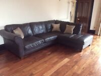 Large brown leather corner sofa- very good condition