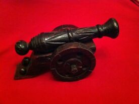 Aztec hand carved wooden cannon