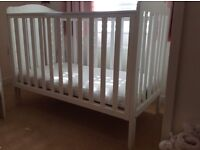 Cot - white, wooden cot in great condition
