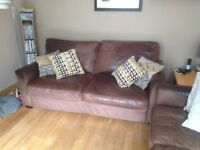 3 seater and 2 seater Italian brown soft leather sofas. Well used,still extremely comfortable.