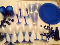 Blue glassware assorted collection