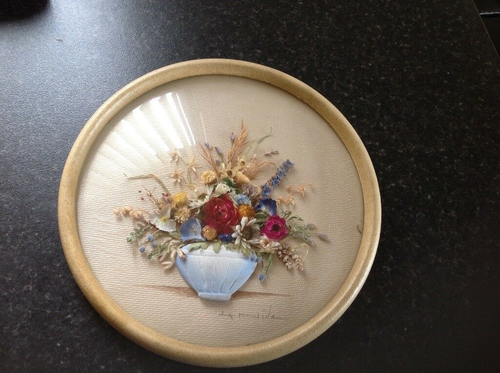 La Nive's Pot Pourri flowers round domed glass picture. Signed.