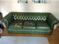 Green 3 seater Chesterfield