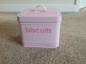 Pink metal biscuit tin