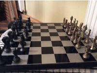 Eastern brass and pewter chess set with resin board