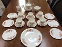 Queen Anne tea set, plates cups saucers teapot jug etc very pretty